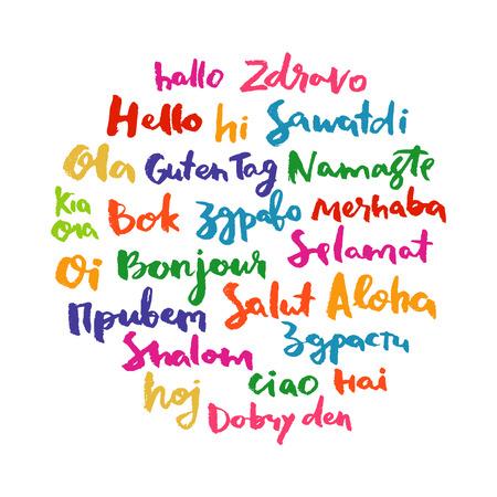 idiomas: Hola nube de la palabra burbuja de diálogo en diferentes idiomas