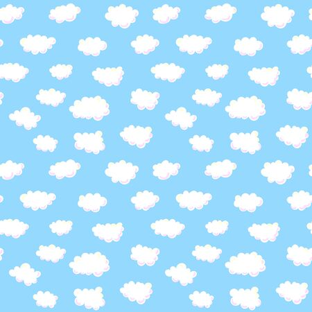 sky blue: blue sky with white clouds, vector seamless pattern