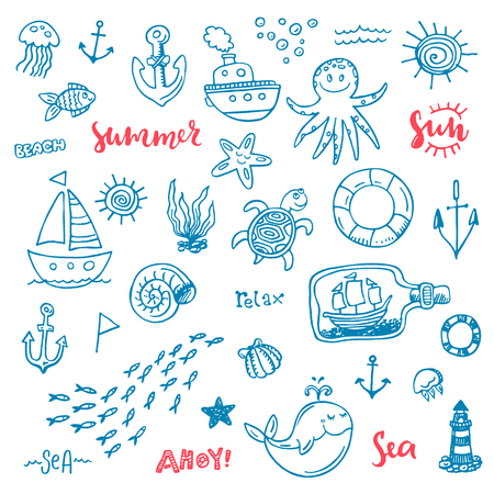 Nautical vector doodle set