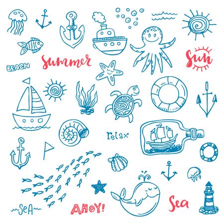 Nautical vector doodle set