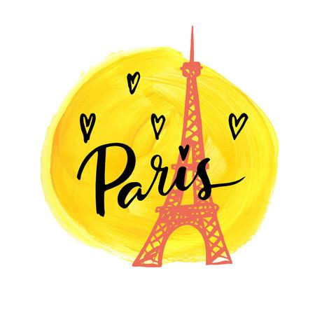a i: I love Paris. Hand drawn calligraphic card.