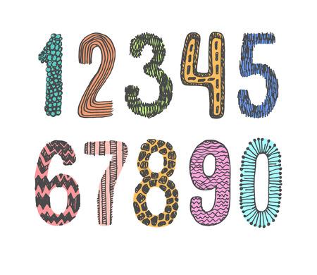 Hand getrokken doodle nummers in te stellen Stockfoto - 44221085