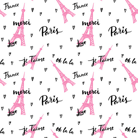 France, Paris, Oh La La! Fashion seamless background. Çizim