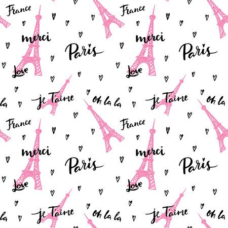 Frankrijk, Parijs, Oh La La! Mode naadloze achtergrond. Stock Illustratie