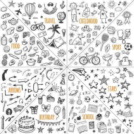 Mega diseño doodle conjunto de elementos del vector. los viajes, la infancia, el deporte, la escuela, cumpleaños, flechas, comida.