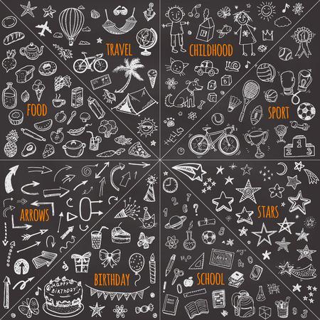 메가 낙서 디자인 요소 집합을 벡터합니다. 여행, 어린 시절, 스포츠, 학교, 생일, 화살표, 음식을. 일러스트