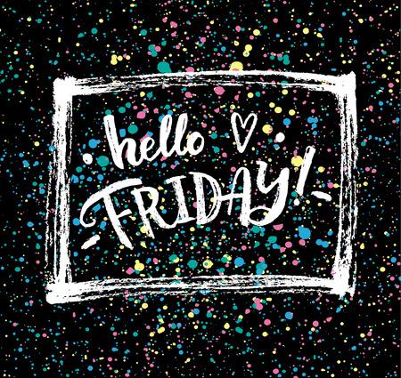 Hello friday!  Creative calligraphic card. Vettoriali