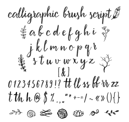 Kalligrafische vector lettertype met cijfers, ampersand en symbolen. Stock Illustratie