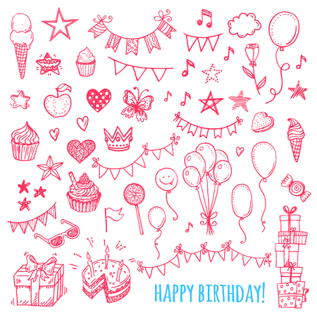 heart with crown: Hand drawn happy birthday party icons. Cakes, sweets, balloons, bunting flags.