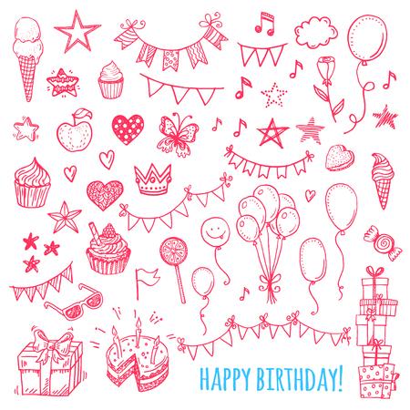 Hand getrokken gelukkige verjaardag iconen. Gebak, snoep, ballonnen, gors vlaggen. Stock Illustratie