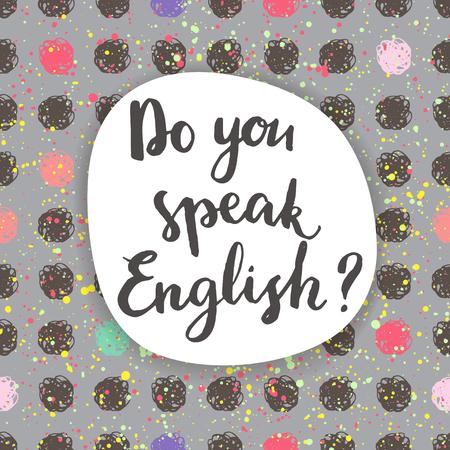 Do you speak English? Calligraphic card.