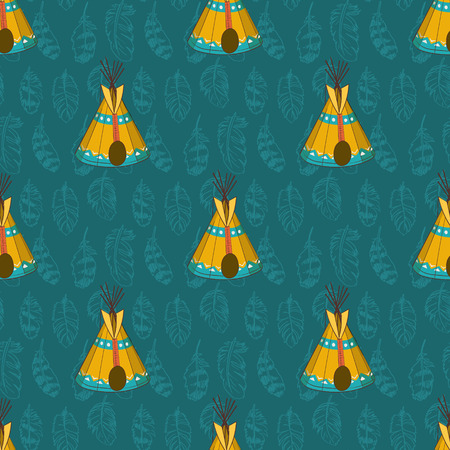 teepee: Seamless pattern with wigwams and feathers