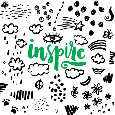 inspiración: ¡Inspirar! Dibujado a mano cita de la inspiración caligráfica. Ilustración del vector. Vectores