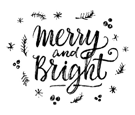 bright: Peace, Joy, Love!  Hand lettering calligraphic Christmas type poster Illustration