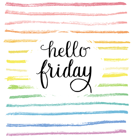 Hello friday type on a creative rainbow background. Ilustrace