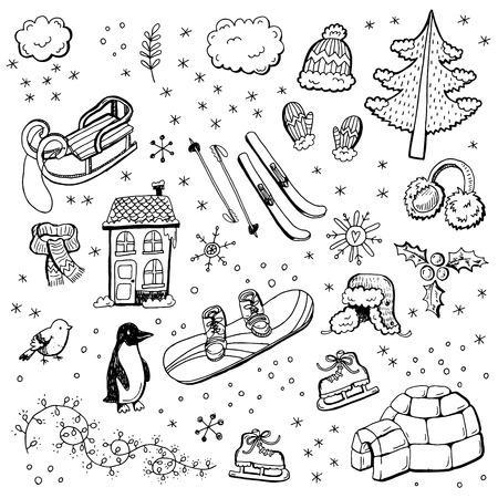 手描きの冬の落書き。  イラスト・ベクター素材