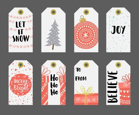 let it snow: Christmas gift tags set. Illustration
