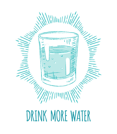 drink water: Drink More Water. Motivation poster.