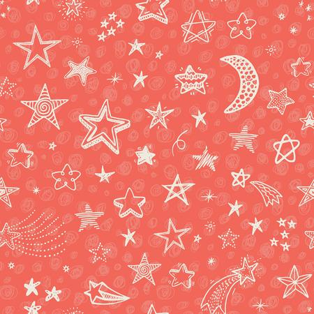 estrella: Dibujado a mano sin patr�n con estrellas del doodle Vectores