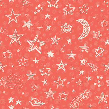 Hand drawn seamless pattern with doodle stars