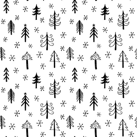 white party: Seamless background with doodle christmas trees and snowflakes