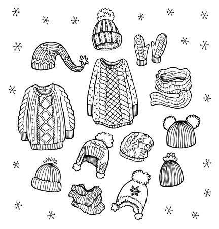 warm clothes: Hand drawn winter clothes vector set