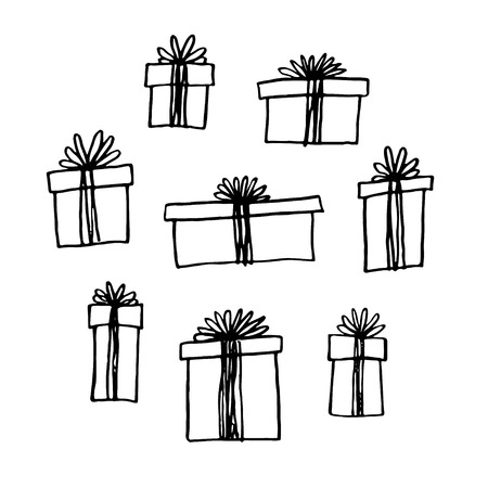 gift wrapping: Hand drawn gift boxes set.