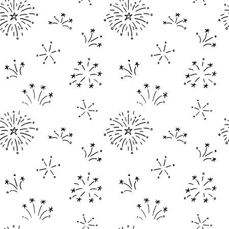 Hand drawn doodle fireworks. Seamless pattern for your holiday design.