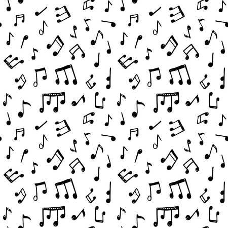 Doodle seamless pattern with hand drawn music notes. Illustration