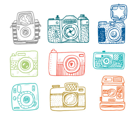 Illustration sketch vintage retro photo cameras set.