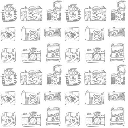 Seamless pattern with hand drawn retro cameras 일러스트