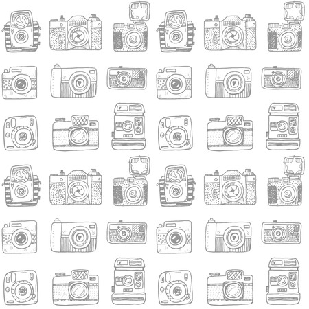 doodles: Seamless pattern with hand drawn retro cameras Illustration