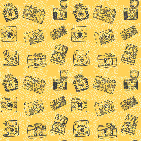 cute wallpaper: Seamless pattern with hand drawn retro cameras Illustration