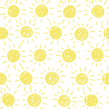suns: Seamless pattern with hand drawn doodle suns