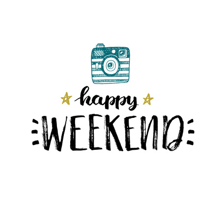Happy weekend! Hand drawn card Reklamní fotografie - 48844324