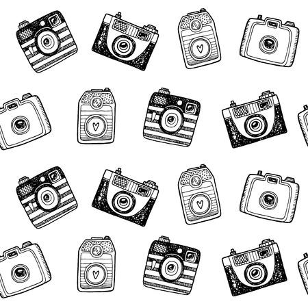 Seamless pattern with hand drawn retro cameras Illustration
