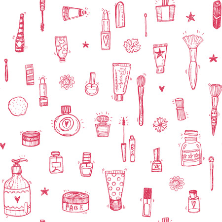 Hand drawn make up and cosmetics doodle seamless background
