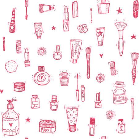 boceto: Dibujado a mano maquillaje y cosméticos doodle de fondo sin fisuras