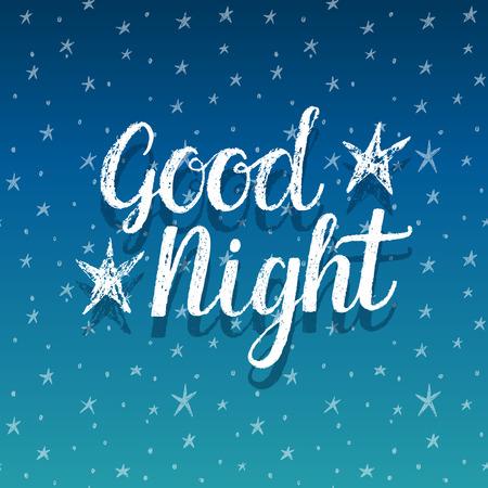 noche y luna: Buenas noches, ilustración mano letras
