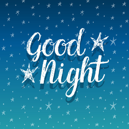 sky night star: Good night, hand lettering illustration Illustration