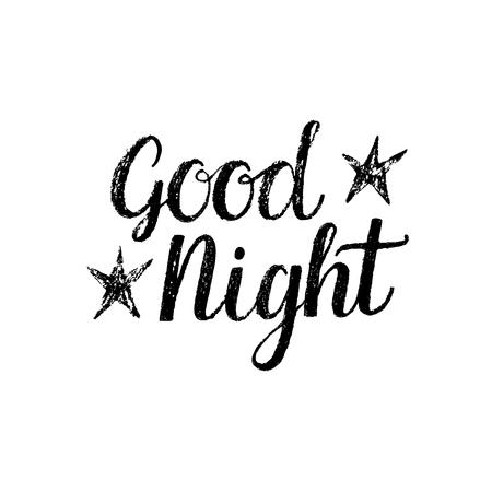 Buenas noches, frase aislada dibujado a mano Foto de archivo - 48843689