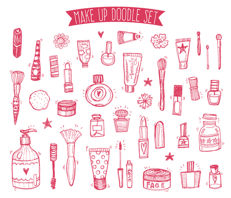 Hand drawn collection of make up and cosmetics sketchy illustrations