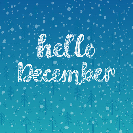 diciembre: Hola diciembre. ilustración vectorial