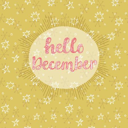 diciembre: Hola tarjeta de diciembre Vectores