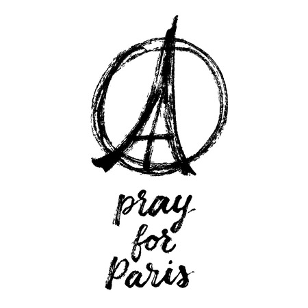pray for: Pray for Paris, hand drawn poster