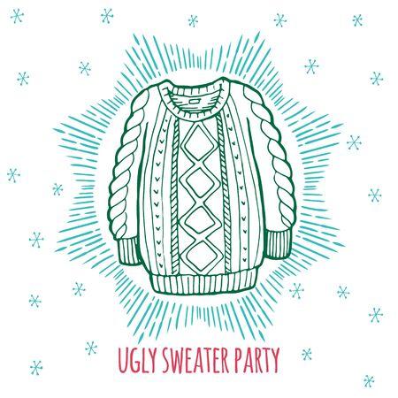 sueter: suéter feo fiesta de Navidad, tarjeta de dibujado a mano