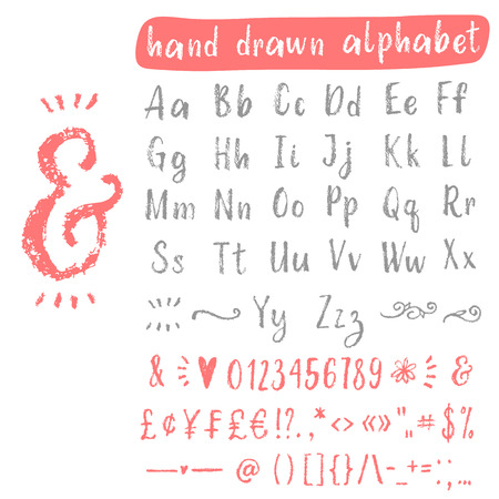 dibujado a mano la fuente vectorial cero con mayúsculas, minúsculas, símbolos y números. Ilustración de vector