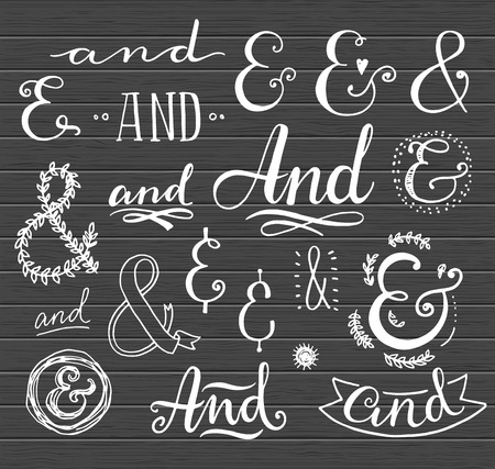 ampersand: Hand lettering calligraphic catchwords and ampersands on a blackboard