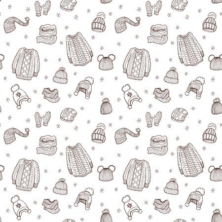 Nahtlose Muster mit Hand gezeichneten Winter doodle Kleidung