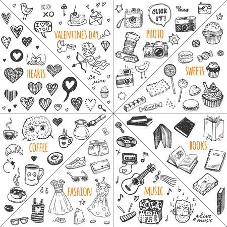 Mega Doodle Design-Elemente Vektor-Set. Hand gezeichnete Illustrationen: foto, Süßigkeiten, Bücher, Herzen, Valentinstag, Musik, Mode Kleidung, Kaffee.